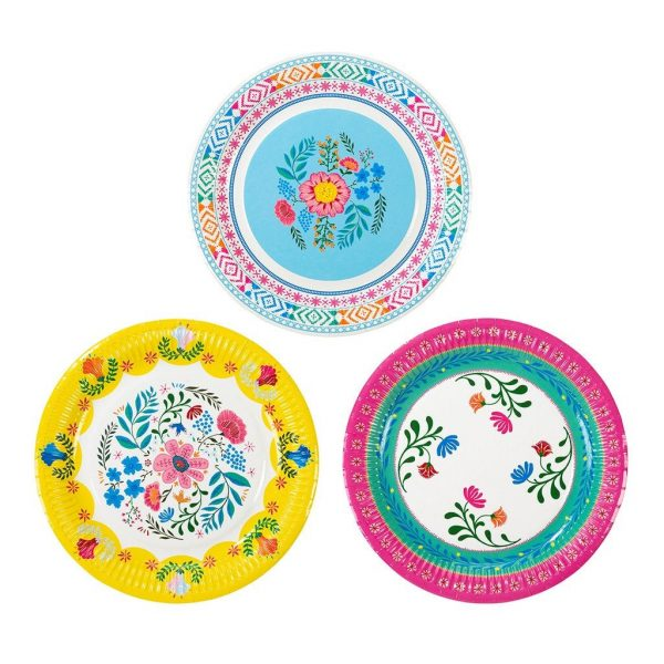 Boho Fiesta Paper Plates for a Backyard wedding or summer party. Perfect in bright colors for Cinco De Mayo