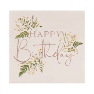 Happy Birthday Rose Gold Foil Tea Party and Botanical Paper Napkins