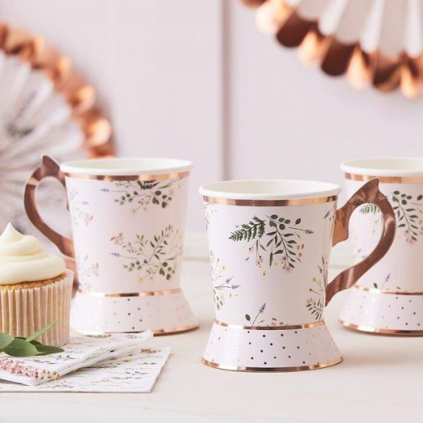 The perfect compliment for your botanical tea party or garden party. Botanical Cups with Rose Gold Foil edges and handle.