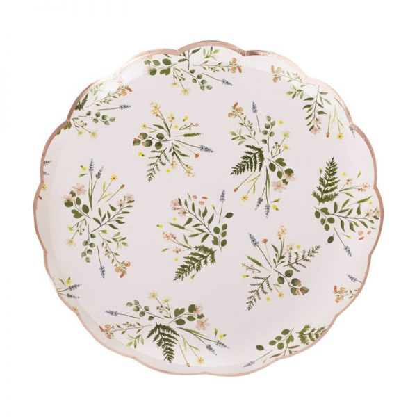 Rose gold foil edge botanical paper plates perfect for a winter wedding or bridal shower.