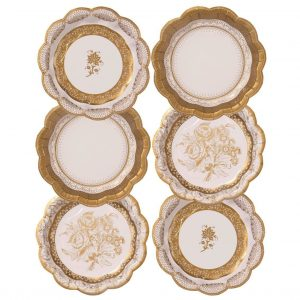gold foiled china pattern paper plates and party supplies for a wedding and elegant party