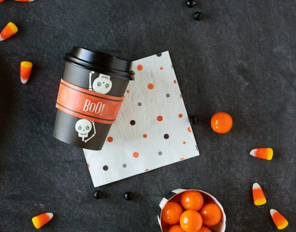Halloween Skeleton Paper Coffee cups perfect for your fall hot and cold beverage.