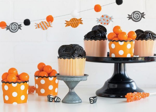 Orange Polka Dot and Stripe Baking Cups and Cupcake Wrappers for Halloween