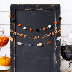 Happy Halloween Garland set of 3 with pom pom accents