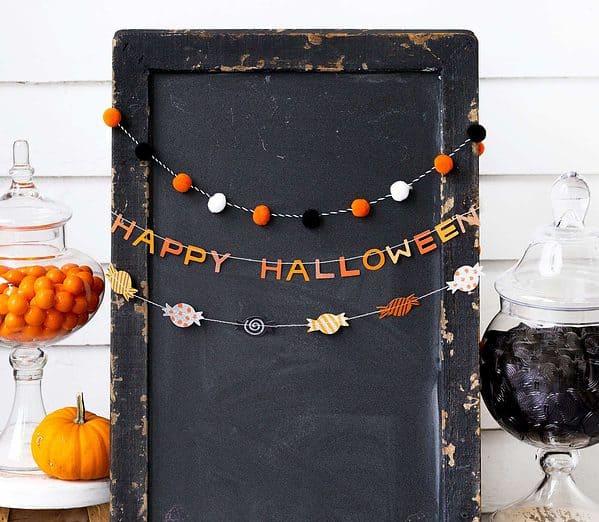 Happy Halloween Garland set of 3 with pom pom accents