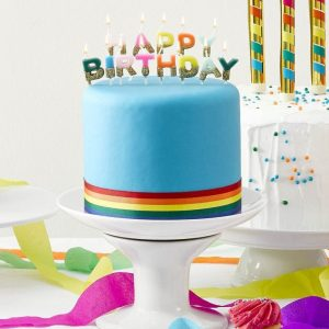 Happy Birthday Bright Rainbow dipped in gold glitterCandles for the top of a cake