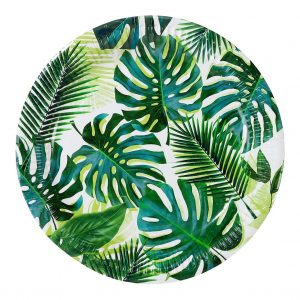 Monstera and Palm Leaf Paper Plates for a Tropical Bridal shower or Fiesta Party