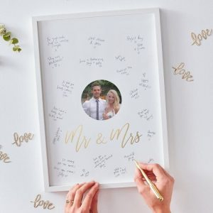 Mr and Mrs Alternative Guest book frame with photo slot.
