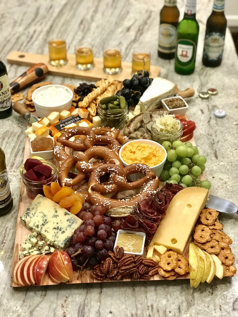 Oktoberfest Snack Board for a fun September or October party theme. Makes for a great food display for a beer tasting.