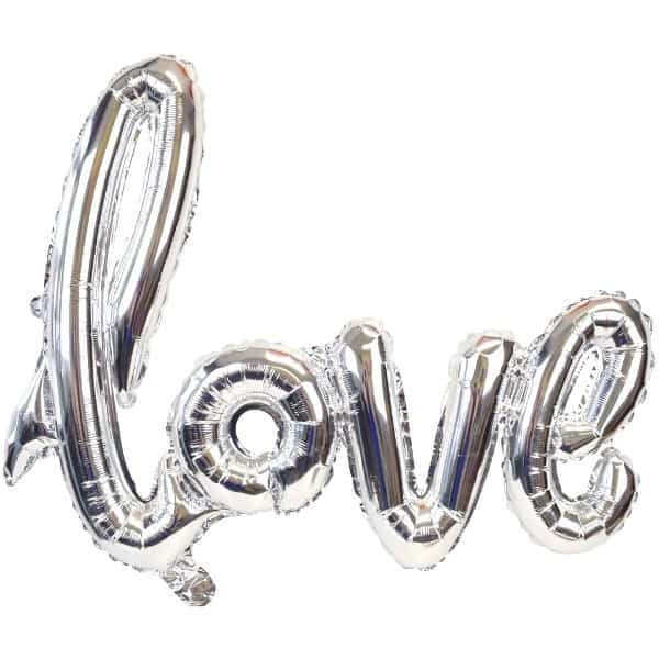 love silver balloon garland for a bridal shower or baby shower or Valentine's Day