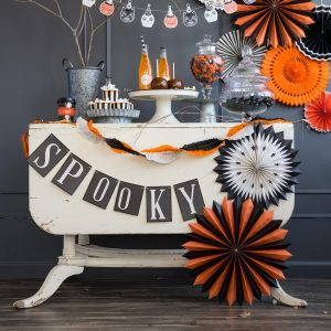 Spooky Halloween Banner with Vintage Party Decorations