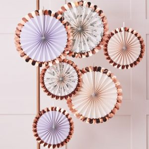 Tea Party Backdrop Fans in lavender peach and floral with rose gold edge details