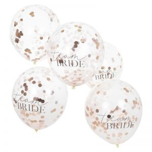 Team Bride Rose gold and Blush Confetti Balloons