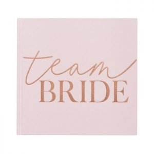 Blush Team Bride Guest Book for a Bridal Shower with Pink Velvet and rose gold lettering