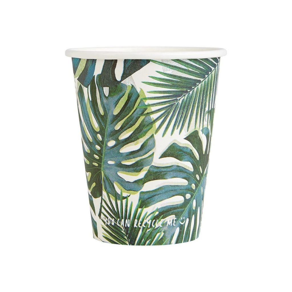 Tropical Palm Leaf and Monstera Paper Cups for a tropical bridal shower or Fiesta.
