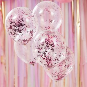 Each pack contains 5 x 12 inch bright pink confetti balloons - perfect for birthdays, bridal showers, baby showers. Perfect for a Candyland