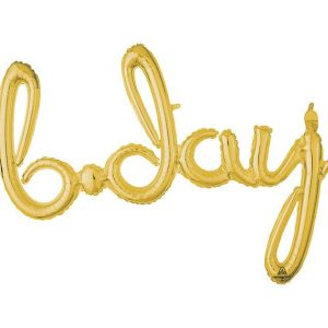 gold B-Day balloon garland for great birthday decorations