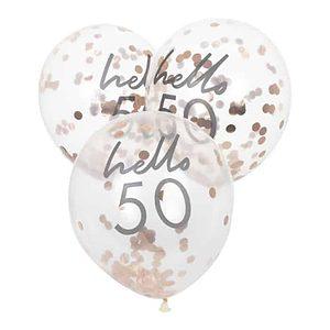 Hello 50 Rose Gold Confetti Balloon Bouquet