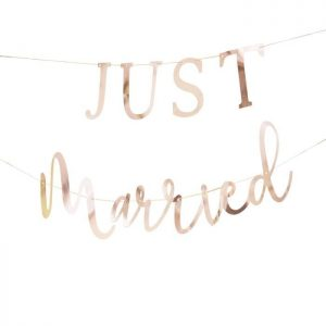 Just Married Banner in rose gold get away car decorations