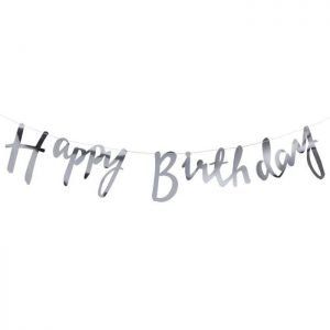 Silver happy birthday banner in pretty script font