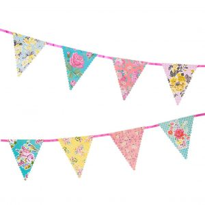 Fabric tea Party bunting in shades of pink blue and yellow in a floral print