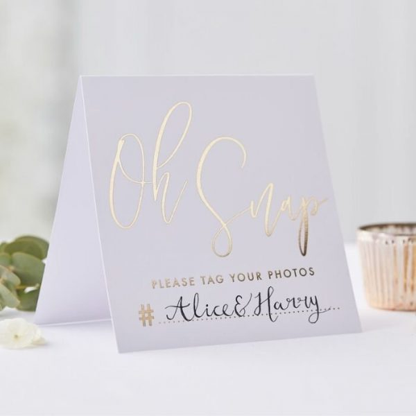 Wedding Hashtag Gold Foil Tent Cards