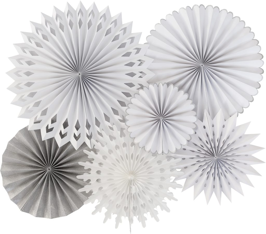 Snowflake and Silver Backdrop Fans