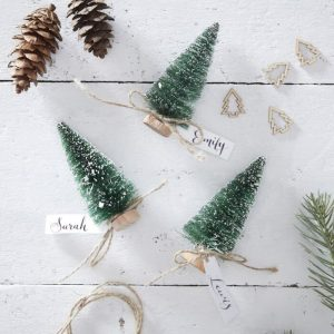 Bottle Brush tree Place card holders with mini tags on each tree - bottle brush trees are evergreen color