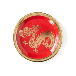 Chinese New Year Dragon Plates in Red with gold foil for lunar new year.