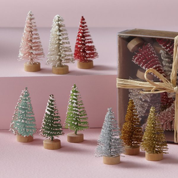 Mini Bottle Brush trees in shades of pink, white and red