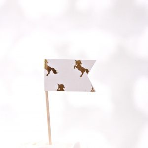 Unicorn party toppers - white backdrop with gold foil unicorns