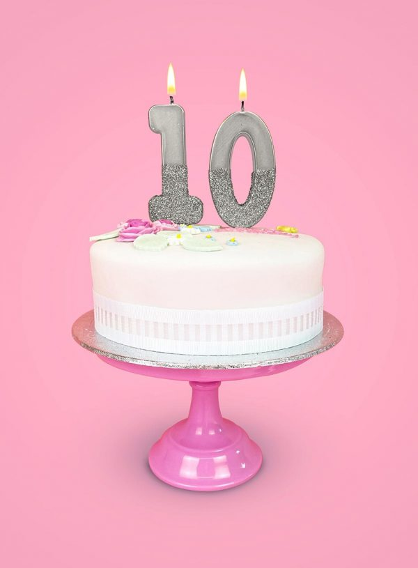 Silver 10 birthday cake numbers