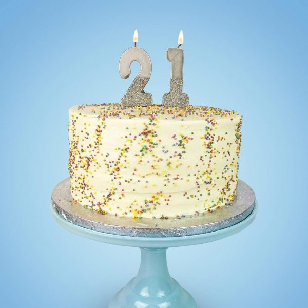 Silver birthday number candles 21st birthday cake with sprinkle - shop for birthday party supplies with EnFete
