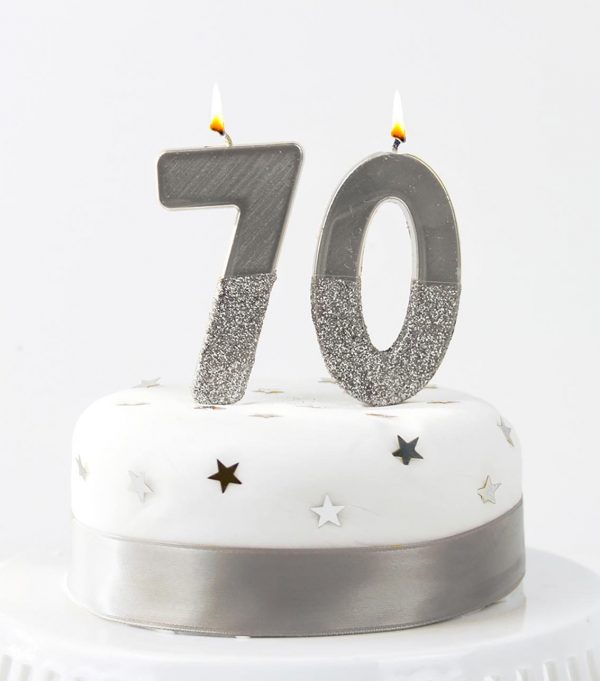 Silver birthday candles in numbers 7 and 0