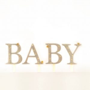 Baby Cake Topper for a baby shower in white with gold stars