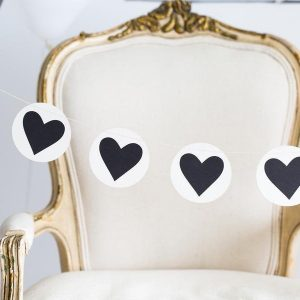 Chic black and white heart garland that is perfect for Valentine's Day or an Alice in Wonderland Party