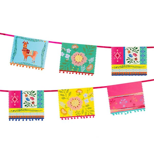 Brightly Colored Boho Fiesta Party Banner with Pom Poms and Llamas