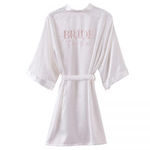 White Satin Bride to Be Robe or Dressing Gown