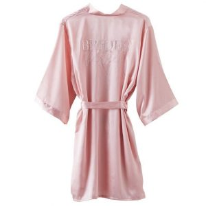 Bridesmaid robe in pink satin perfect for getting ready
