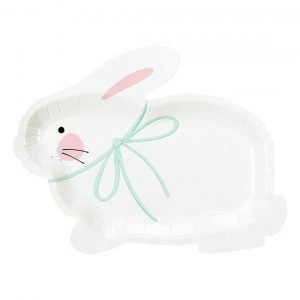 Easter Bunny Shaped plates with a blue bow on neck perfect for Easter treats