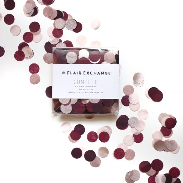 Burgundy Blush and Rose Gold tissue paper confetti for a wedding or bridal shower