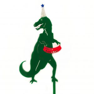 Dinosaur Cake topper in green with Happy Birthday banner and party hat