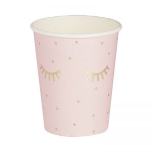 Blush paper cups with cute gold foil eyelashes perfect for a pampering bridal shower or birthday