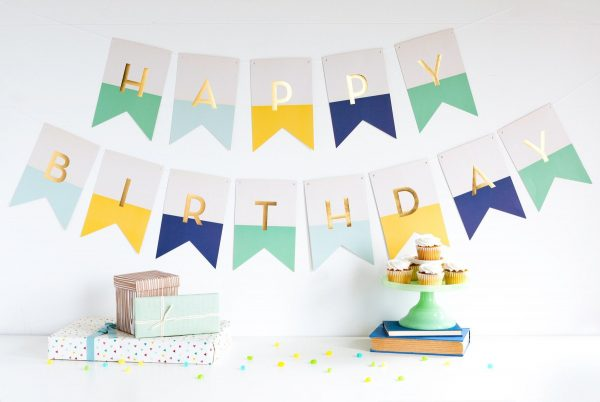 Happy Birthday Banner in yellow, blue and green