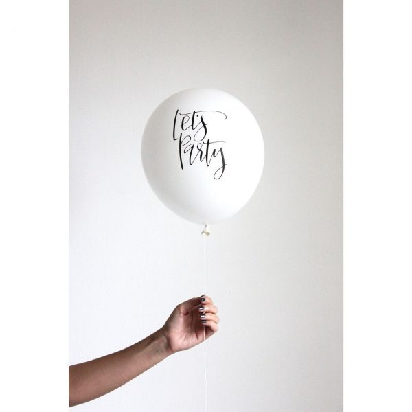 Let's Party balloon - white with elegant calligraphy writing - perfect for a bachelorette party