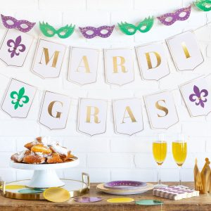 Gold Purple and Green Mardi Gras Banner