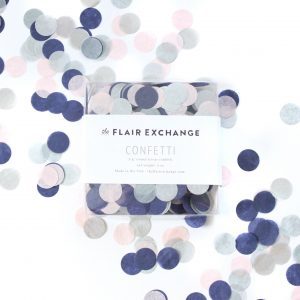 navy blush and silver tissue paper confetti made from circles of tissue paper punches
