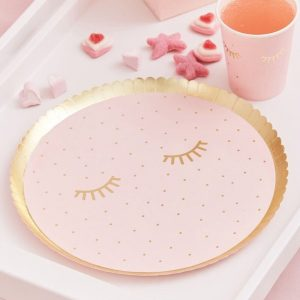 Pamper Party Paper Plate - round blush plates with gold polka dots and gold sleepy eyelashes detail