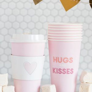 Hugs and Kisses Blush Coffee Cups for Valentine's Day or a bridal shower