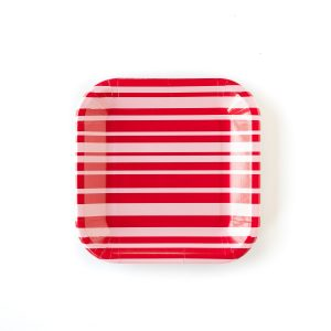 Modern square pink and red striped paper plates perfect for Valentine's Day or a bridal shower